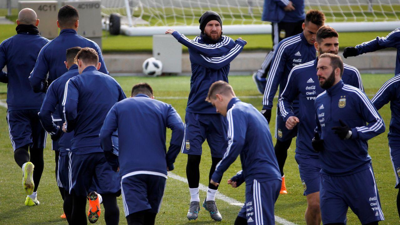 Messi se entrenó ayer en la ciudad deportiva del Madrid, en Valdebebas