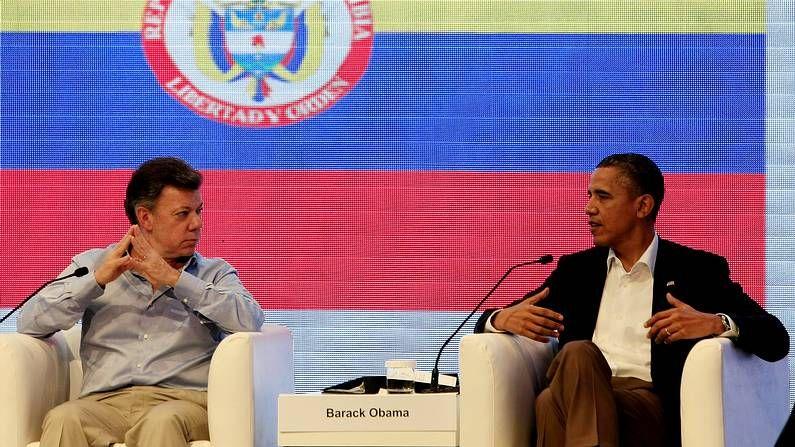 El presidente de Colombia, Juan Manuel Santos, junto a su homólogo estadounidense, Barack Obama