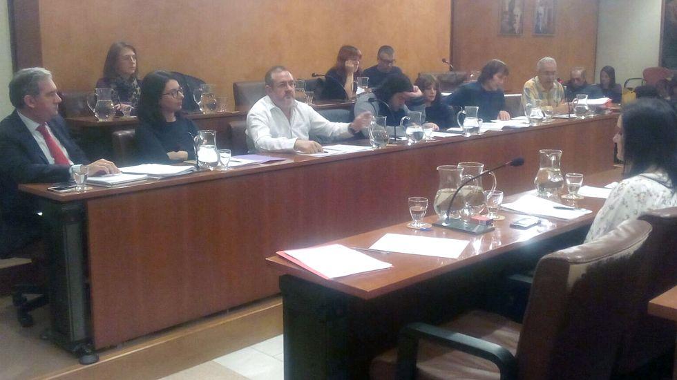 El grupo municipal del PP de Avilés, durante el pleno.El grupo municipal del PP de Avilés, durante el pleno