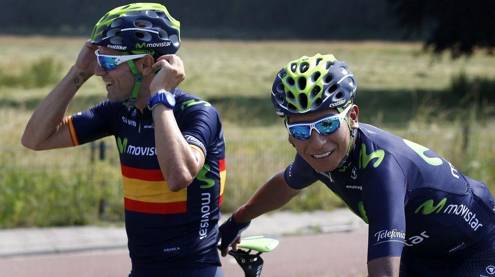 Valverde y Quintana entrenando en un ambiente distendido.