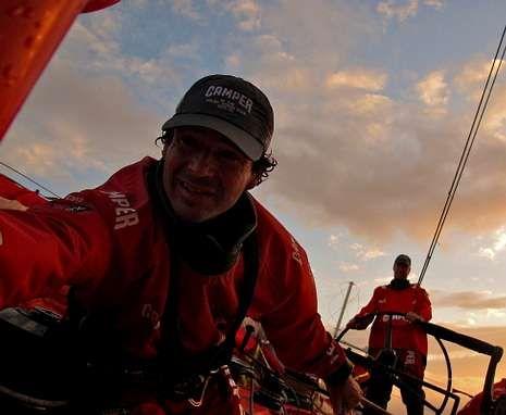 Día de la Tierra.El coruñés «Chuny» Bermúdez de Castro, durante la Volvo Ocean Race que concluyó el sábado.