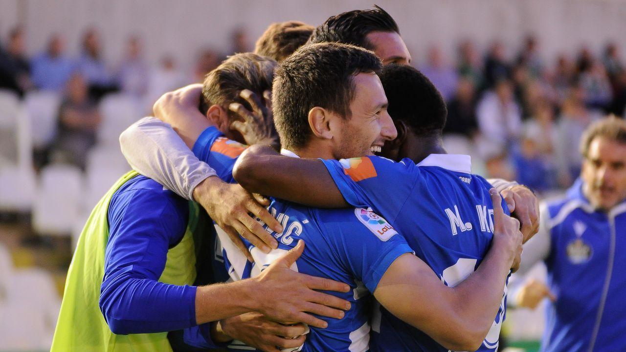 Los deportivistas celebran el gol del empate de Jovanovic en Santander