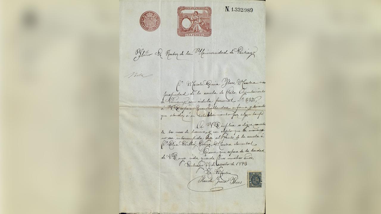Copia das alegacións de Marcela Gracia ao seu primeiro expediente en 1893, que se abriu a pesar de que tiña licenza do reitor para ausentarse porque se presentaba a oposicións. Foi sancionada