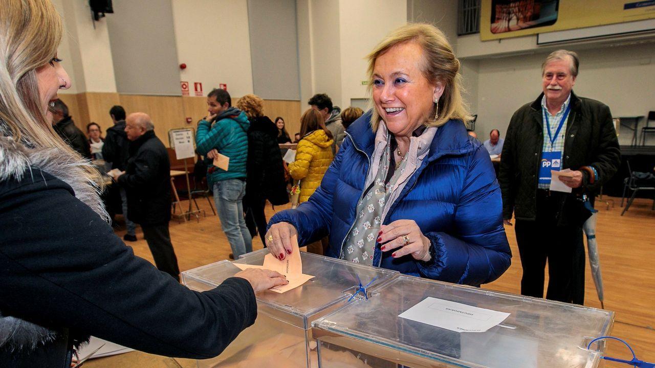 La candidata de PP-Foro al Senado y expresidenta de los populares asturianos, Mercedes Fernández, vota en el colegio público Jovellanos