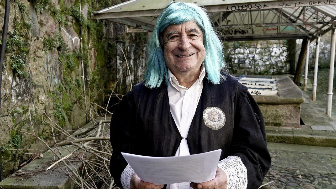 Lectura dela sentencia del meco del Entroido 2021.Juan Luis González ganó el concurso de Allariz en la categoría adultos