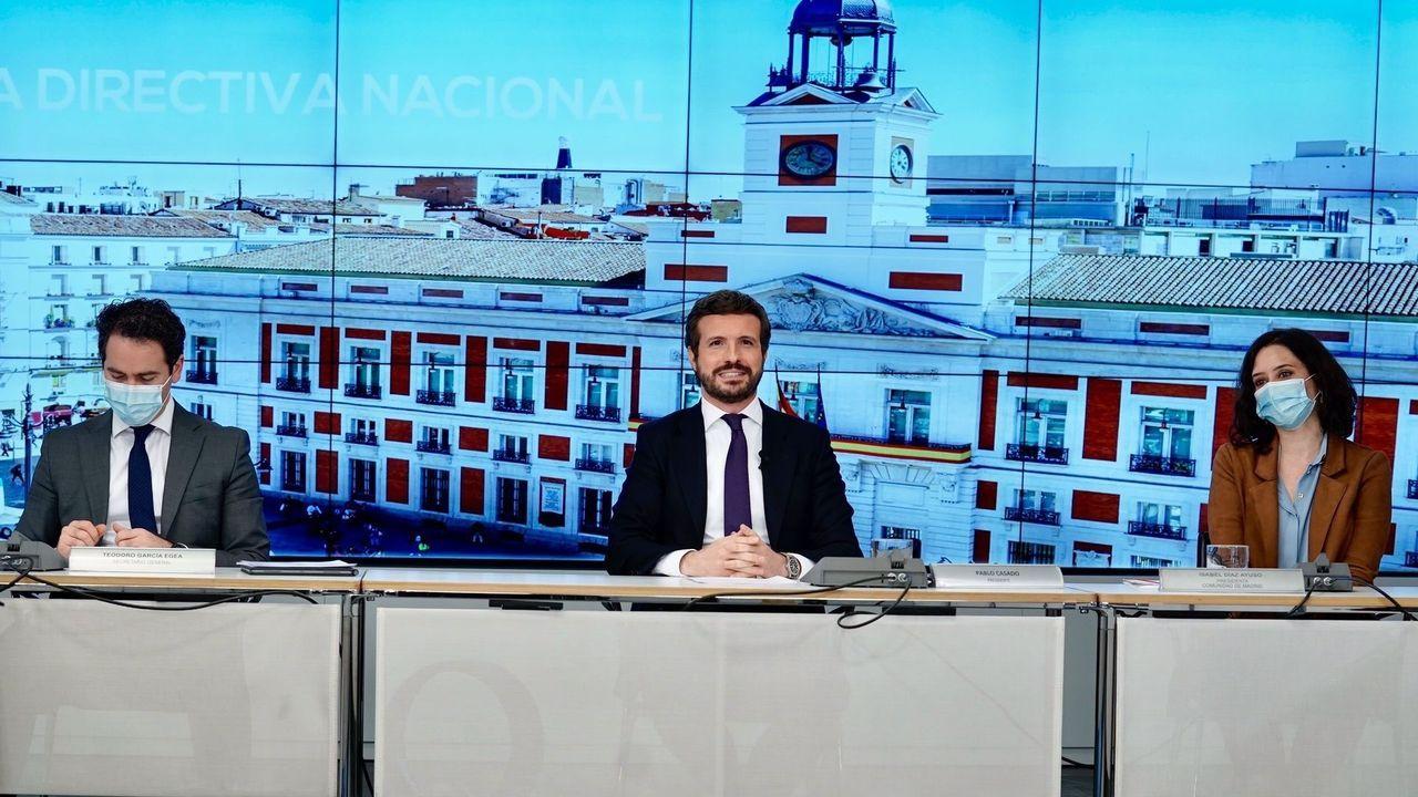 El líder del PP, Pablo Casado, junto al secretario general, Teodoro García Egea, y la presidenta de la Comunidad de Madrid, Isabel Díaz Ayuso.