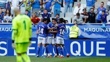 Gol Joselu Real Oviedo Elche Carlos Tartiere.Futbolistas del Real Oviedo celebran el gol de Joselu ante el Elche