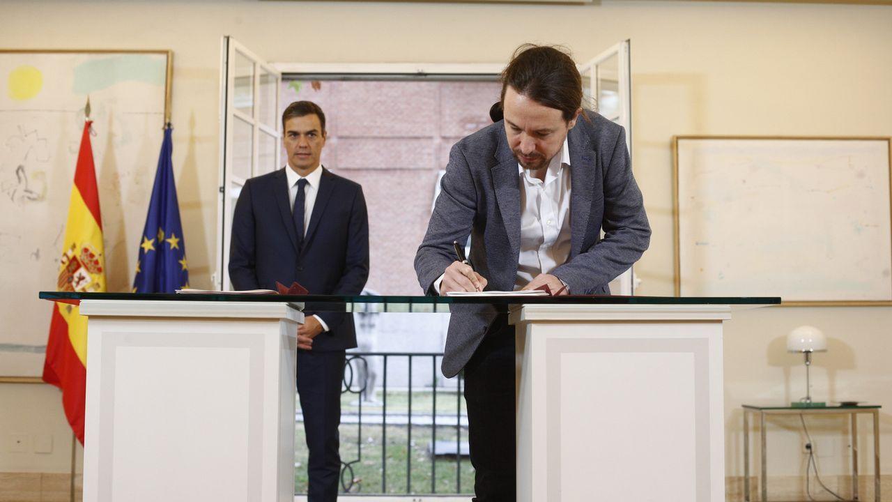 Sánchez e Iglesias, el 11 de octubre, en la firma del proyecto de ley de presupuestos para el 2019