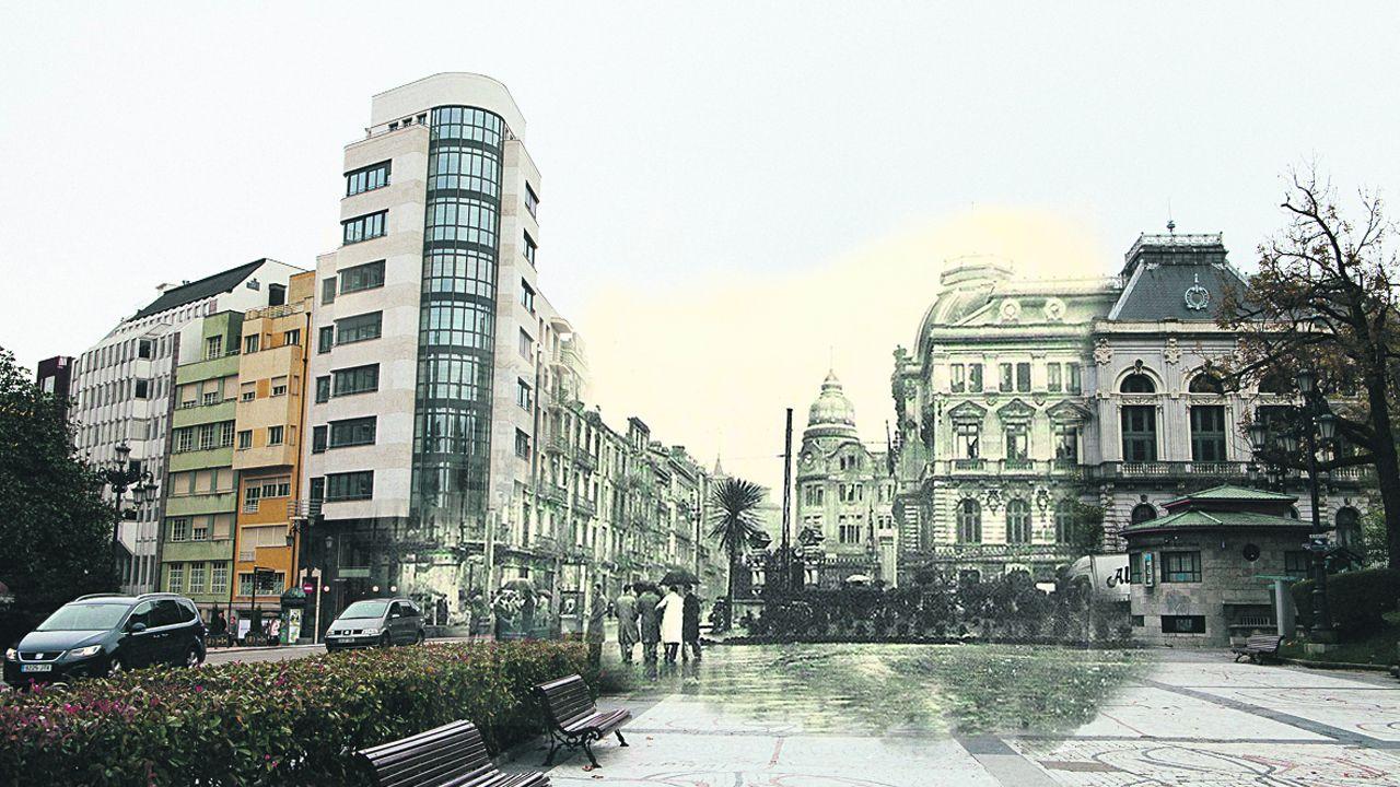 Un fotomontaje del Oviedo actual y el de la Guerra Civil, en este caso, la esquina del edificio de la Junta General del Principado