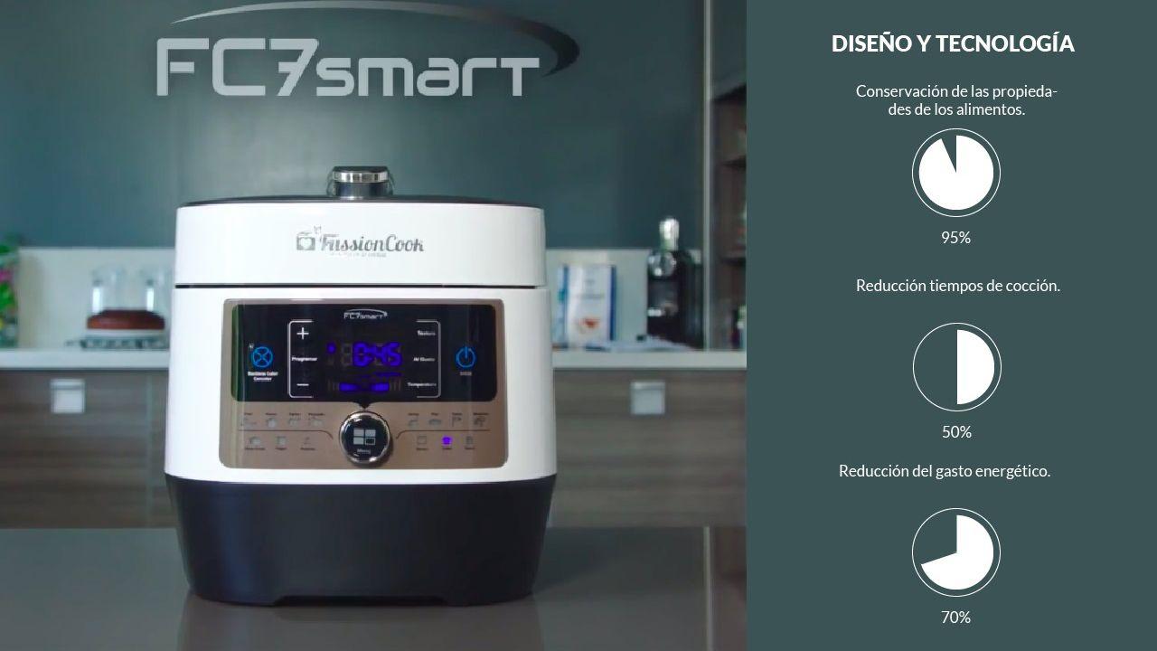 Infografia del diseño y tecnología de la FussionCook FC7 Smart