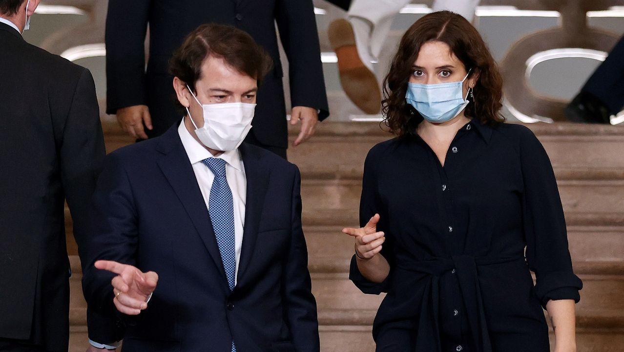 Los presidentes de Castilla y León, Alfonso Fernández Mañueco, y la presidenta de la Comunidad de Madrid, Isabel Díaz Ayuso