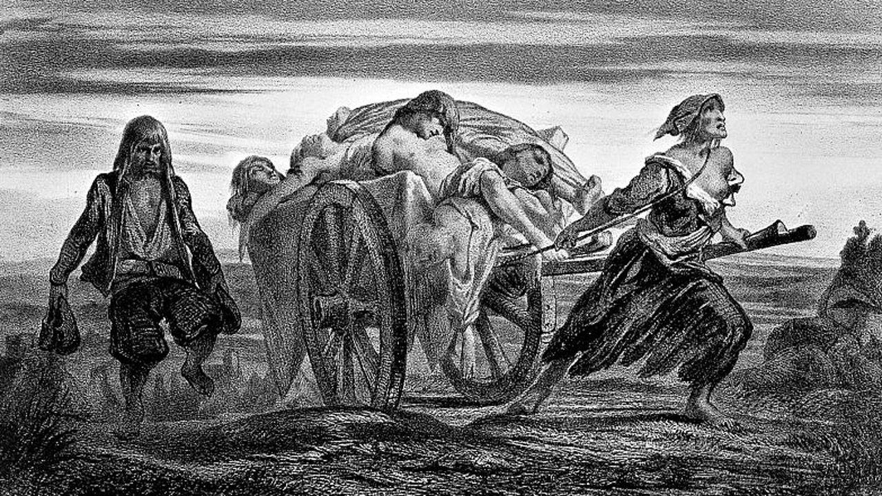 Un grabado moderno sobre la peste negra, que llegó a asolar Asturias en el siglo XIV