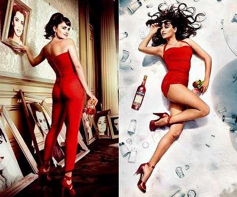 Dos imágenes de la actriz española incluidas en el calendario Campari