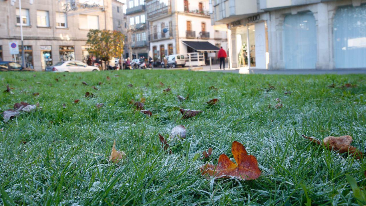 Temperaturas bajo mínimos en Galicia.La avenida de Madrid de Lugo llena de nieble ayer hasta las primeras de la tarde