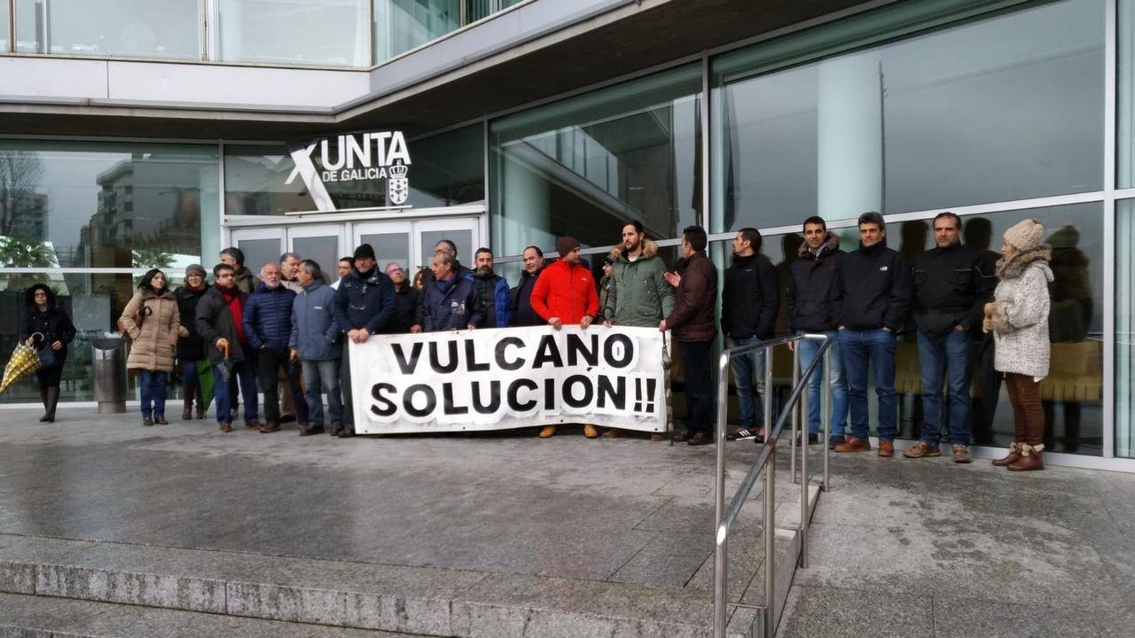 Los trabajadores de Vulcano en una protesta a finales de enero