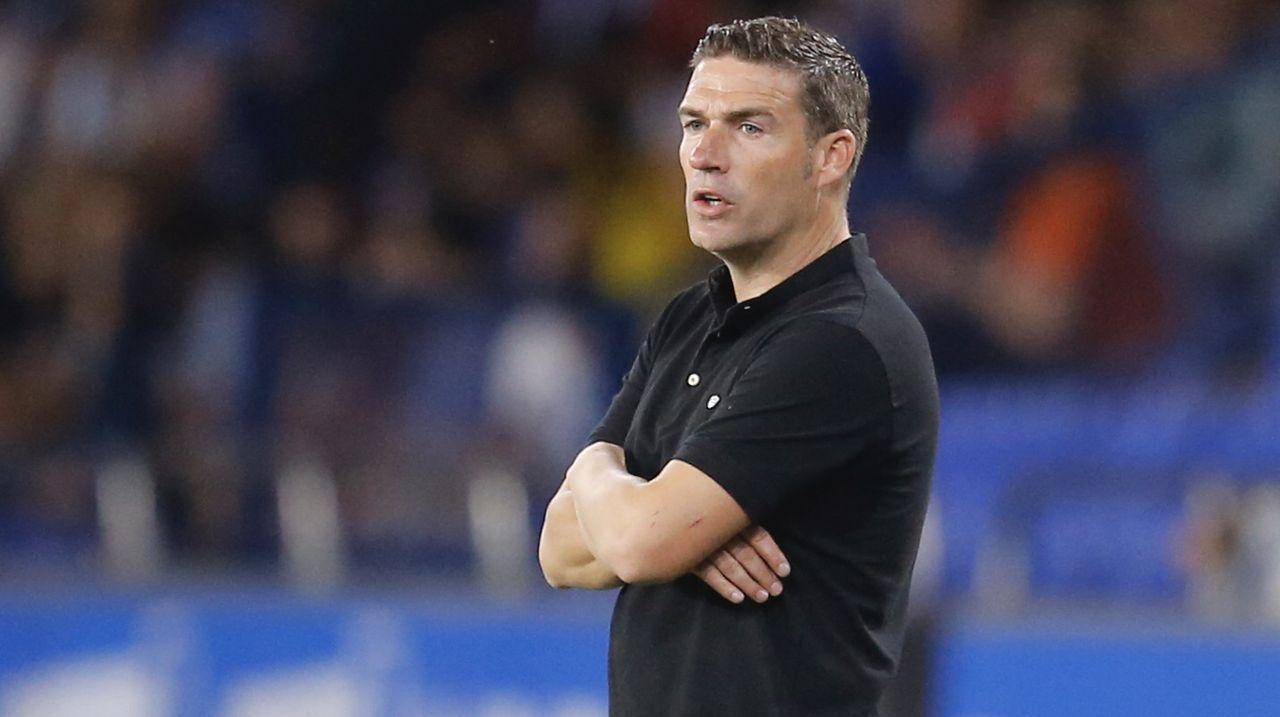 Fernando Vázquez: «Álex Bergantiños es entrenador ya ahora».Kaptoum celebra un tanto con el filial del Barcelona