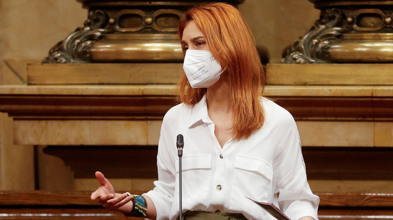 Jéssica Albiach, líder de los comunes en el Parlamento catalán, este jueves en el hemiciclo