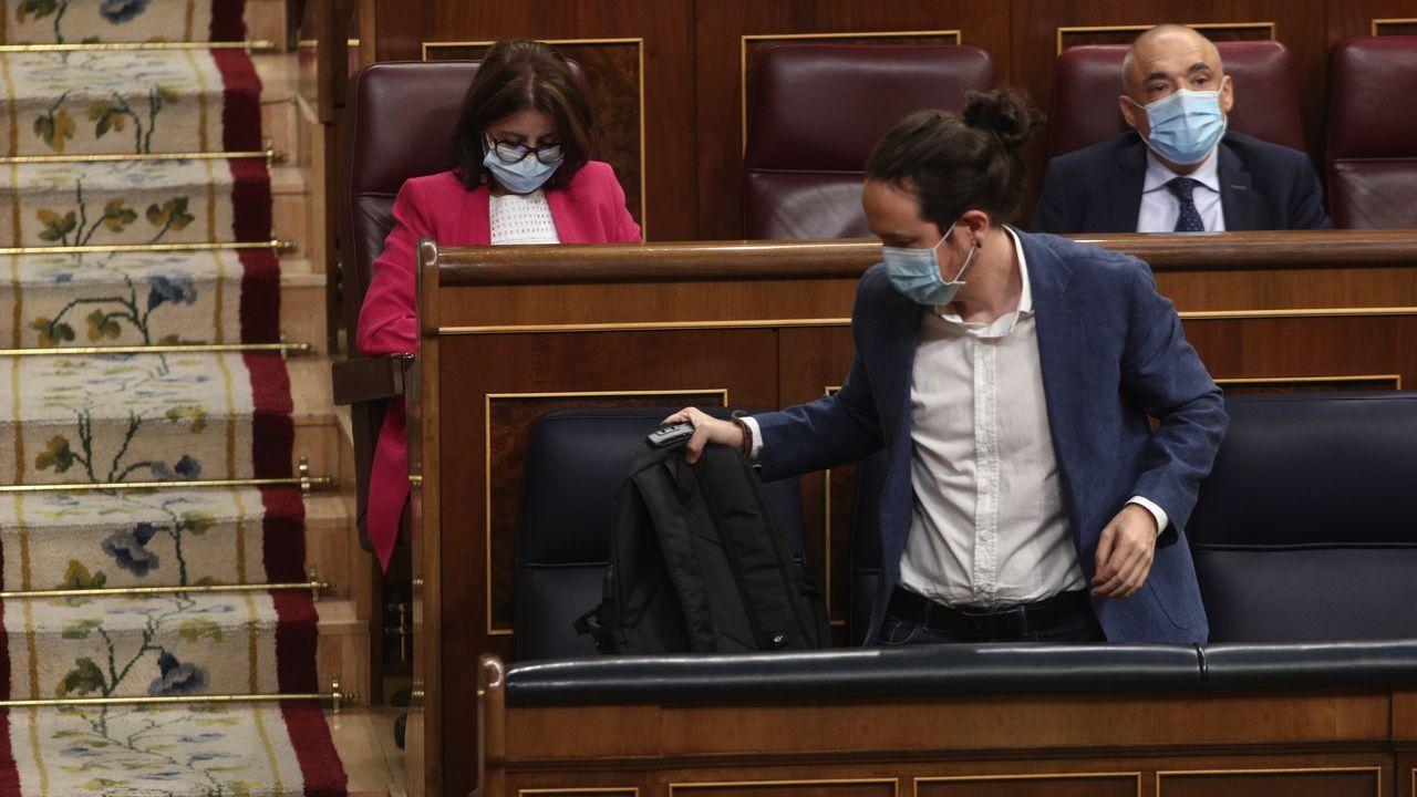 El vicepresidente del Gobierno, Pablo Iglesias, este miércoles, en el Congreso