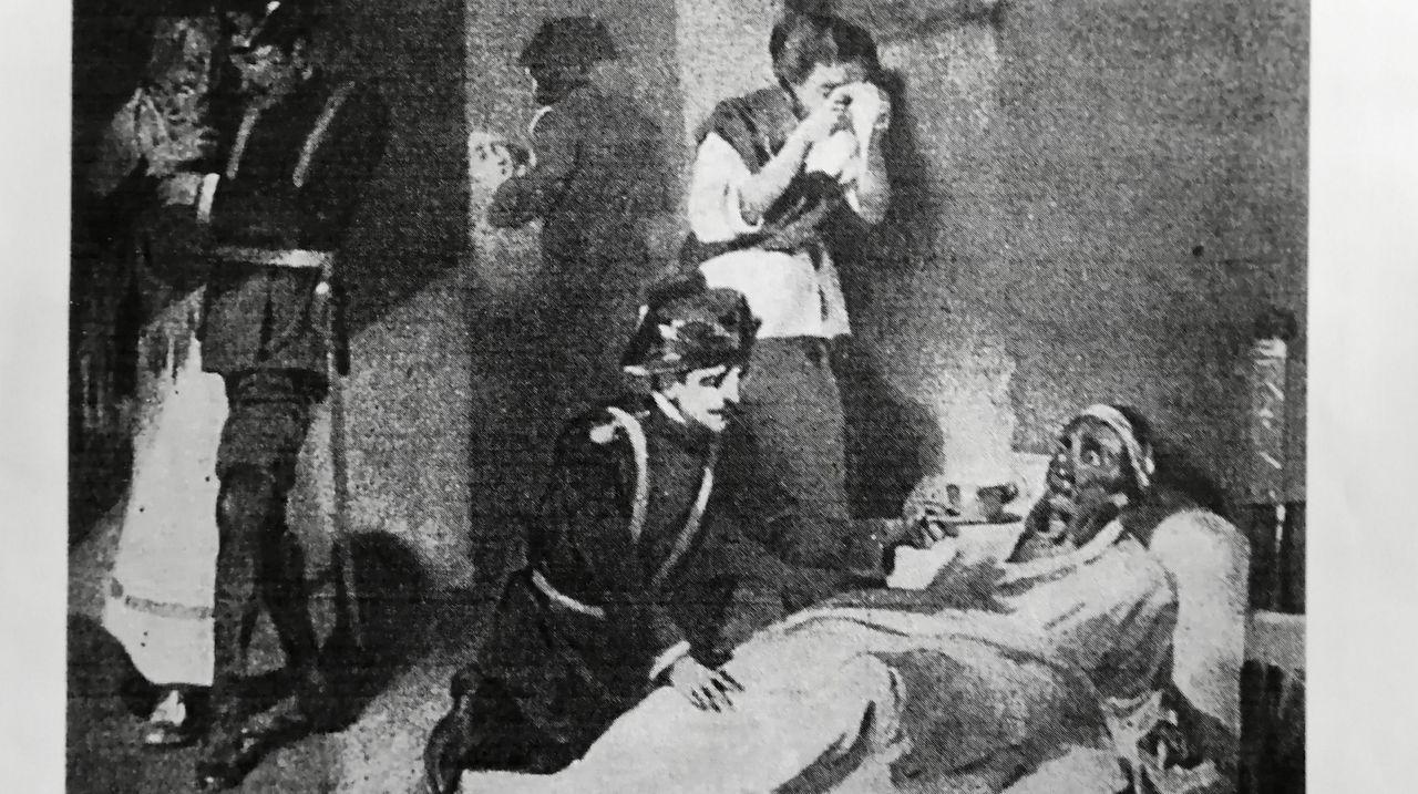 Reproducción de un grabado sobre la epidemia de cólera de mediados del siglo XIX