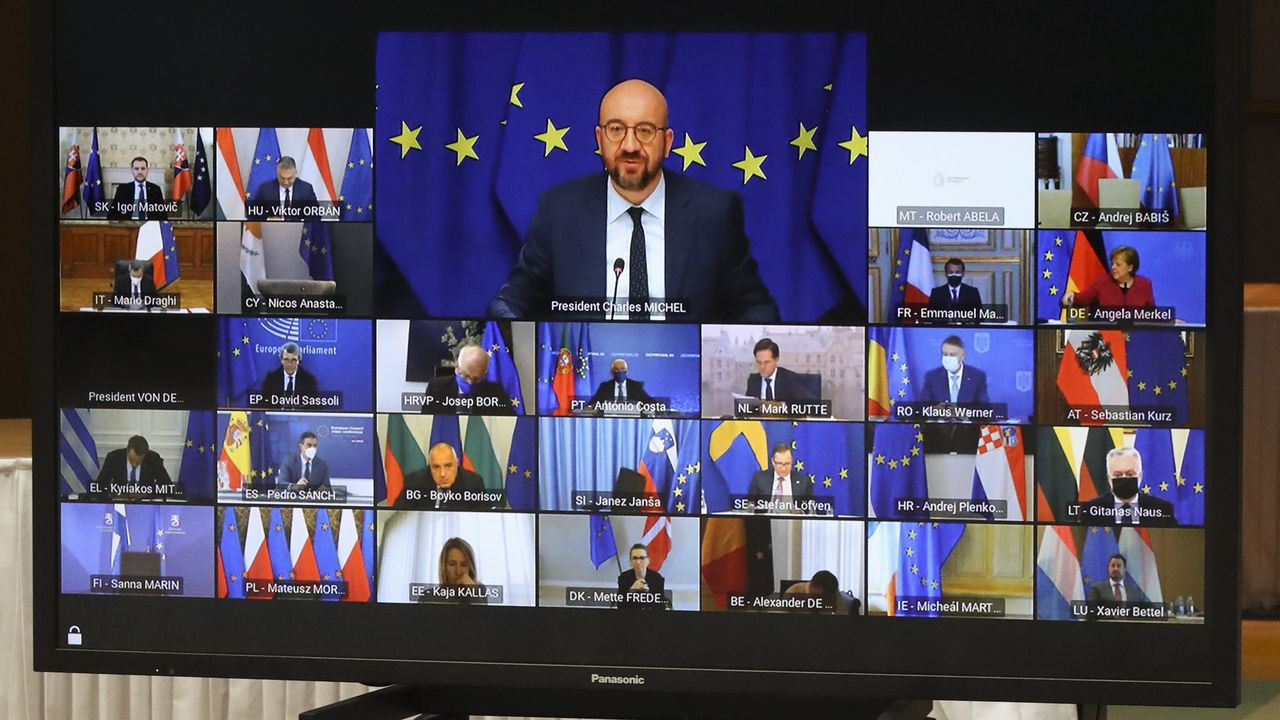 El presidente del Consejo, Charles Michel, en la cumbre telemática con los jefes de Gobierno de los Veintisiete