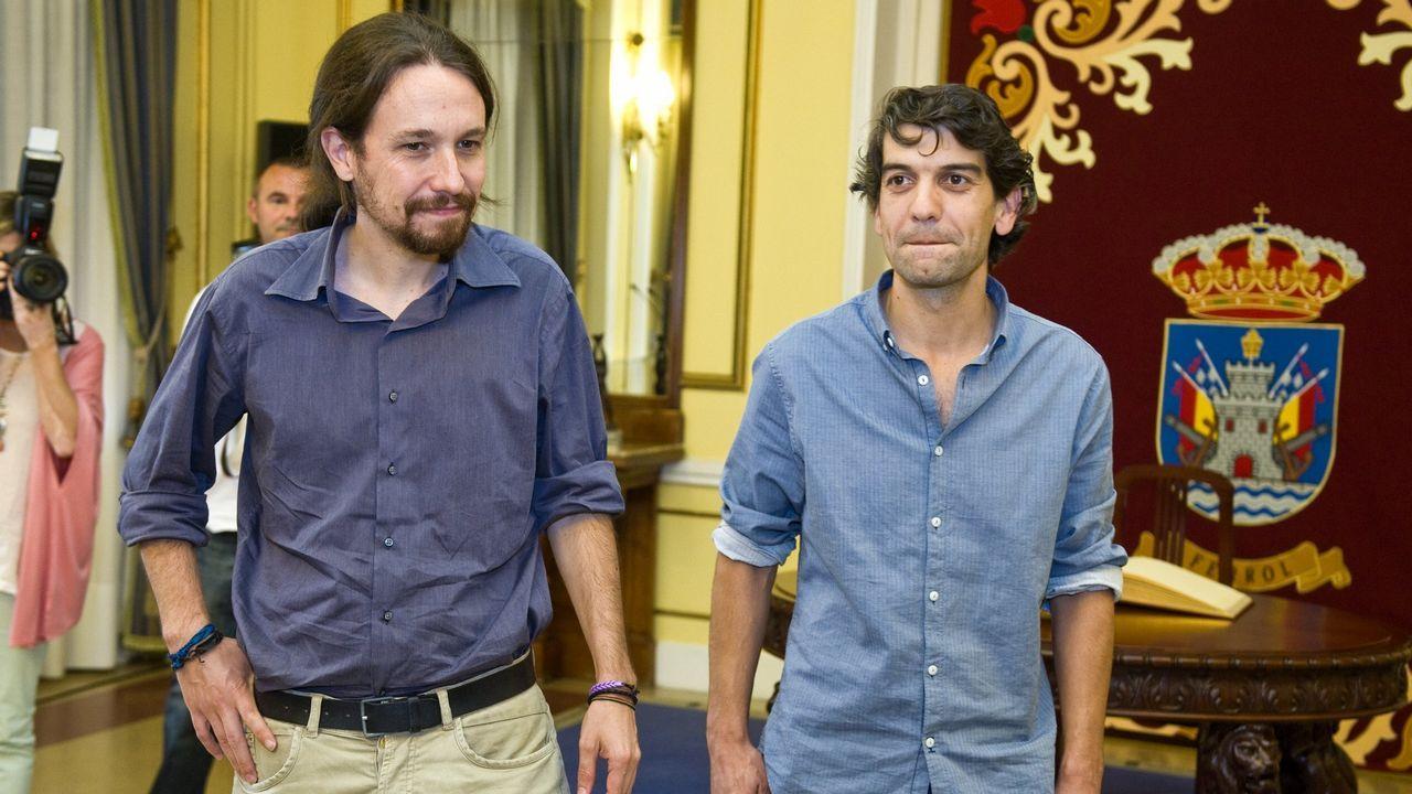 Iglesias y Suárez, en la visita que realizó el líder de Podemos en el 2015