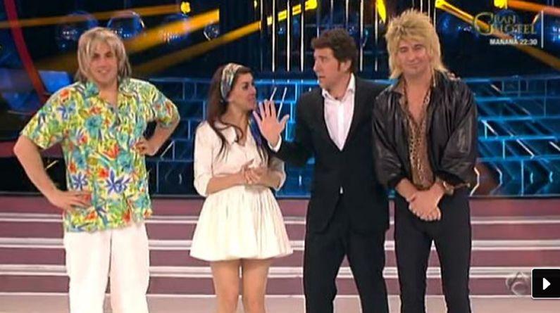 Lana del Rey.Daniel Diges, Roko y Arturo Valls junto al presentador de «Tu cara me suena», Manel Fuentes.