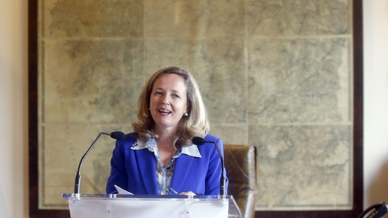 Nadia Calviño, durante su discurso