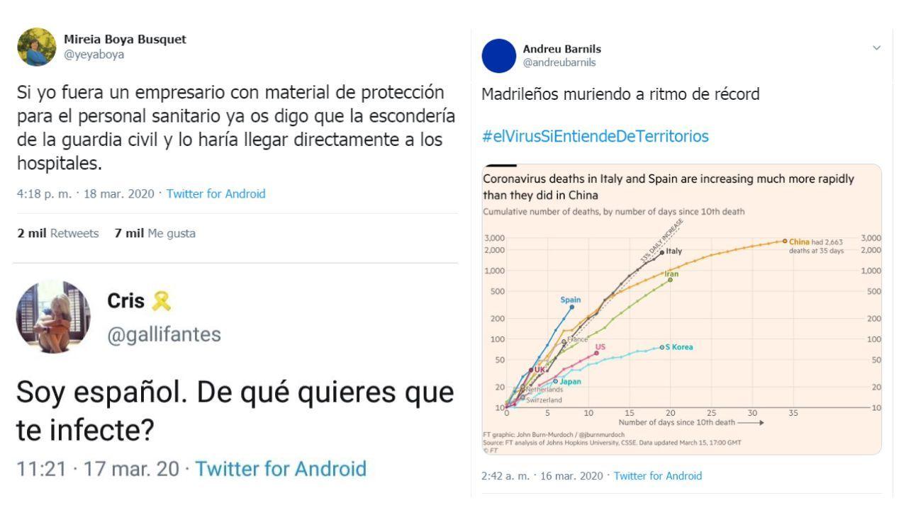 El conocido periodista Andreu Barnills comparte un gráfico con cifras de fallecidos con el siguiente comentario: «Madrileños muriendo a ritmo de récord, el virus sí entiende de territorios»