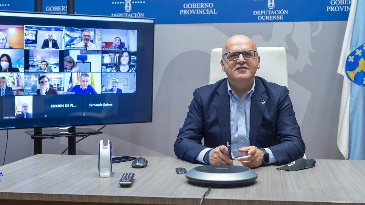 José Manuel Baltar, en la videoconferencia para poner en marcha el equipo multidisciplinar de la Diputación de Ourense para captar fondos europeos