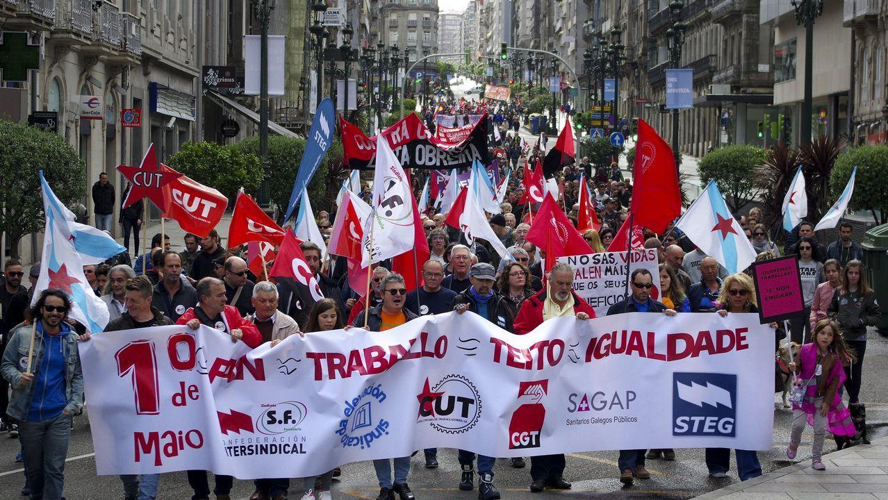 Manifestación del Primero de Mayo de 2018 en Asturias.Manifestación del Primero de Mayo de 2017