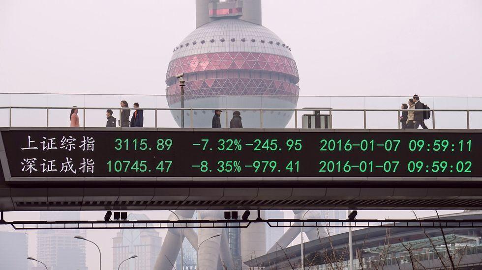 Las bolsas chinas vilvieron a cerrar con caídas de más del 5 %