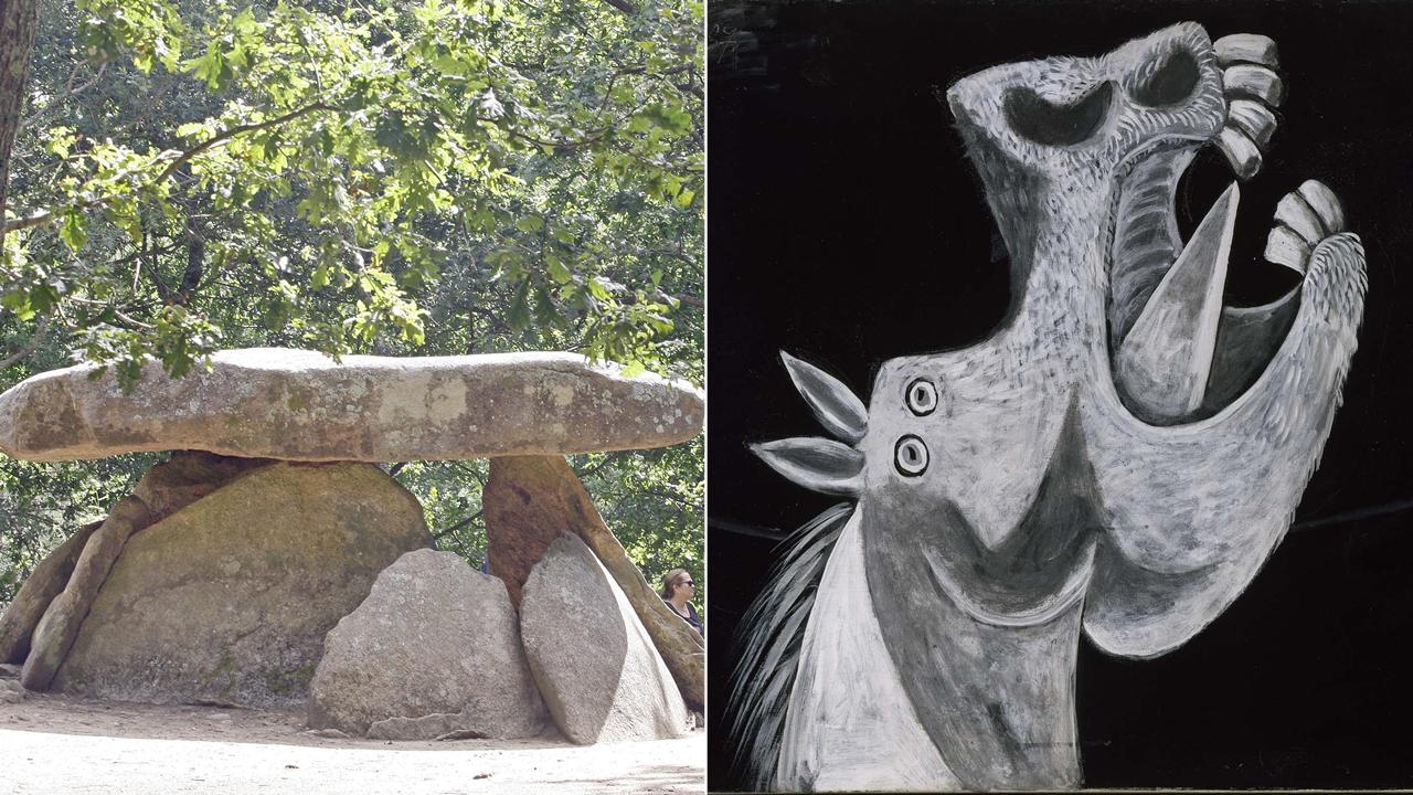 El Cantabria vuelve a casa.El viaje de Campbell inicia sus pasos en la prehistoria -en la imagen, el dolmen de Axeitos- y llega al arte contemporáneo -a la derecha, boceto de Picasso para el «Guernica»-