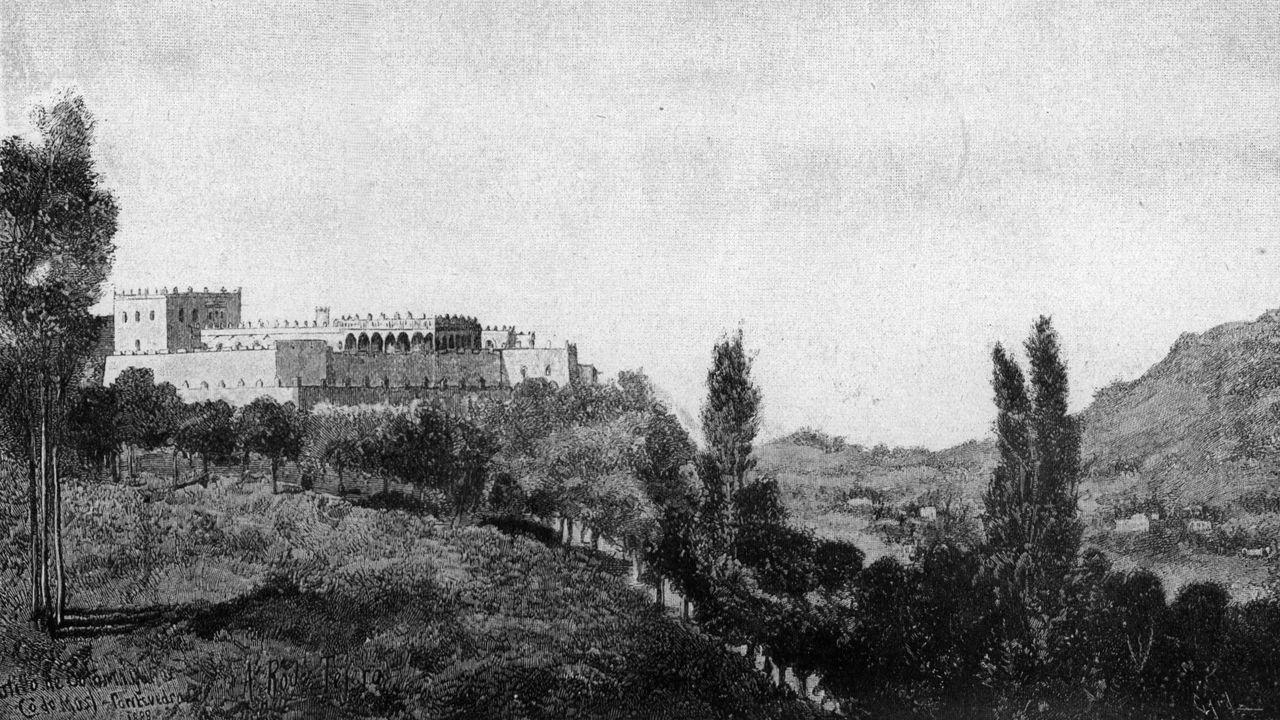 Ao pé da imaxe pode lerse «Castillo de Sotomayor (o de Mos). Pontevedra. A. Roda Tejero. 1888»