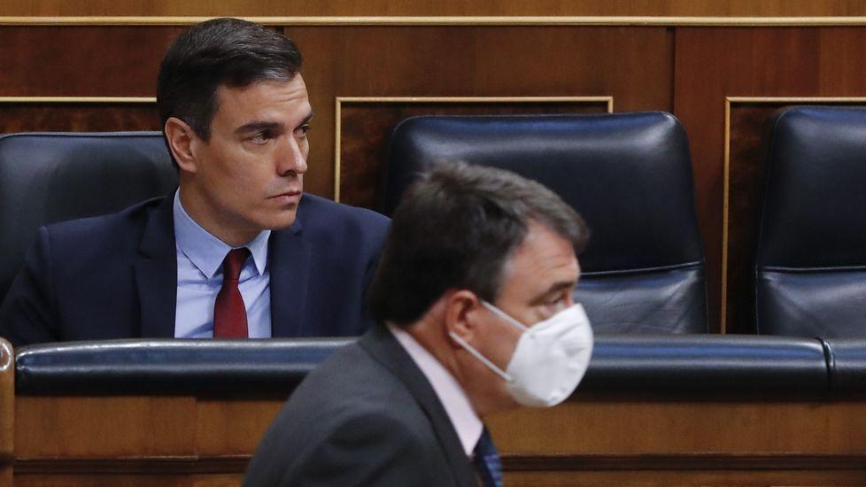 Pedro Sánchez y Aitor Esteban, en el Congreso