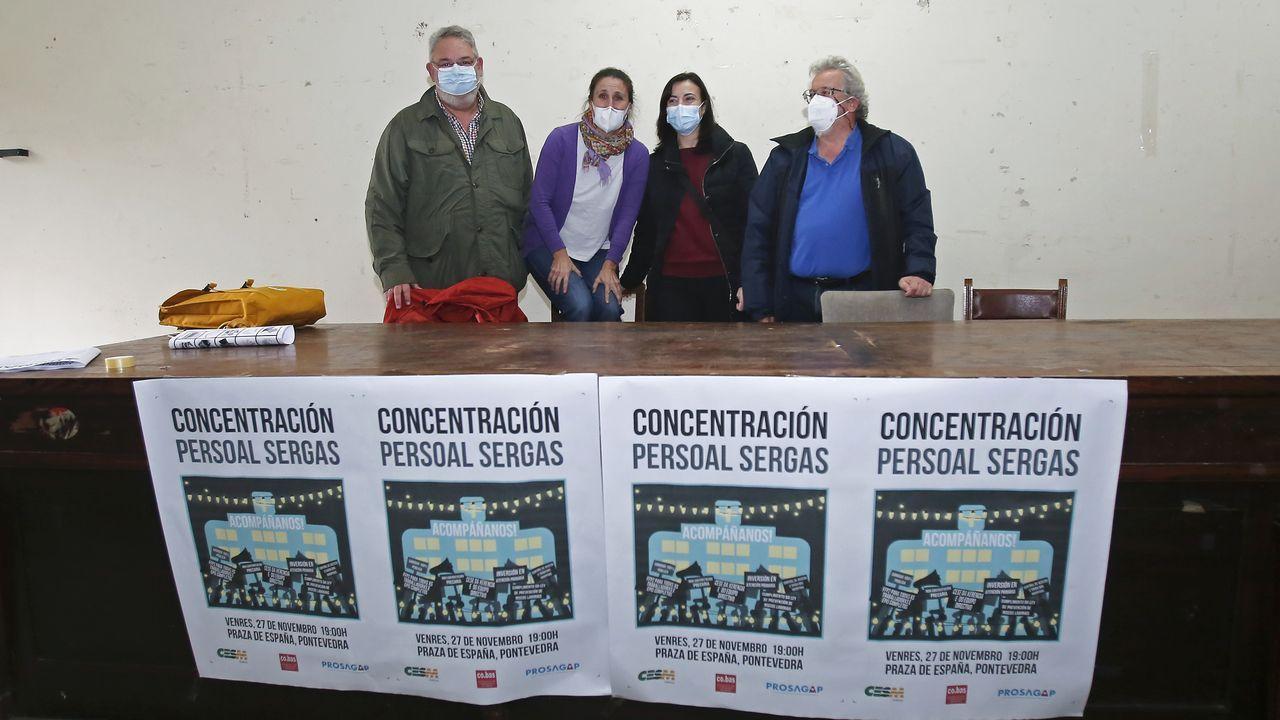 Enrique Marra-López, María Torre Almón, María Ferrero y Rafa Vázquez, este miércoles, en la rueda de prensa que tuvo lugar en el edificio sindical de Pontevedra
