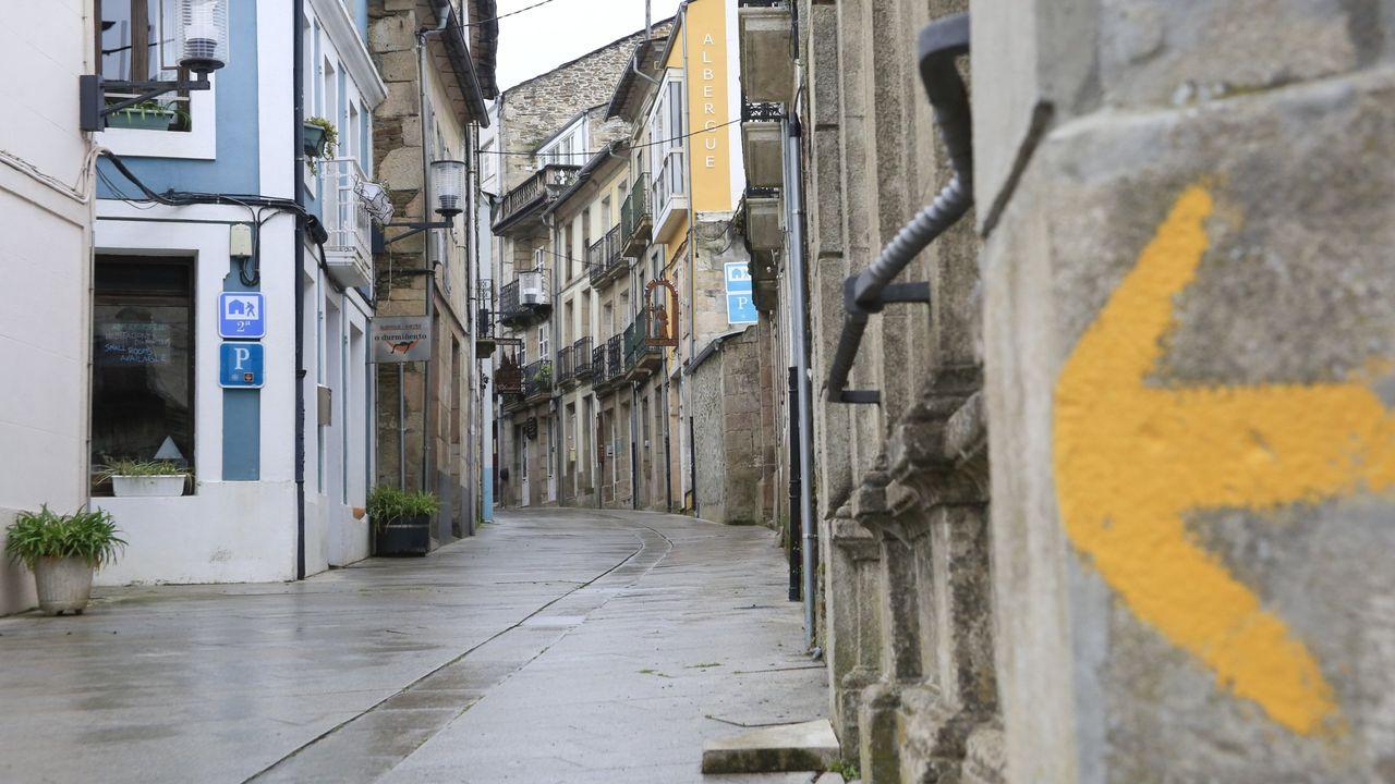 Camiño Francés en Sarria durante el confinamiento por el coronavirus