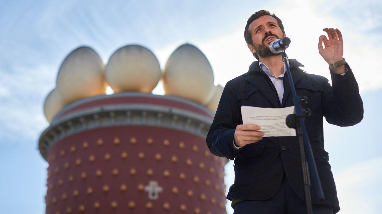 Pablo Casado durante un acto electoral en Figueras