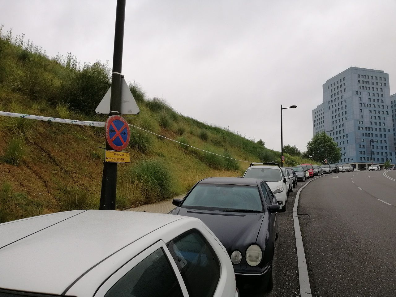 Varios coches aparcados en la zona de estacionamiento libre de la calle Manuel Crespo