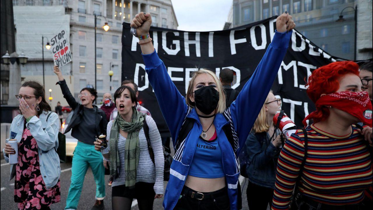 Activistas antibrexit, este martes en una manifestación en los alrededores del Parlamento de Westminster