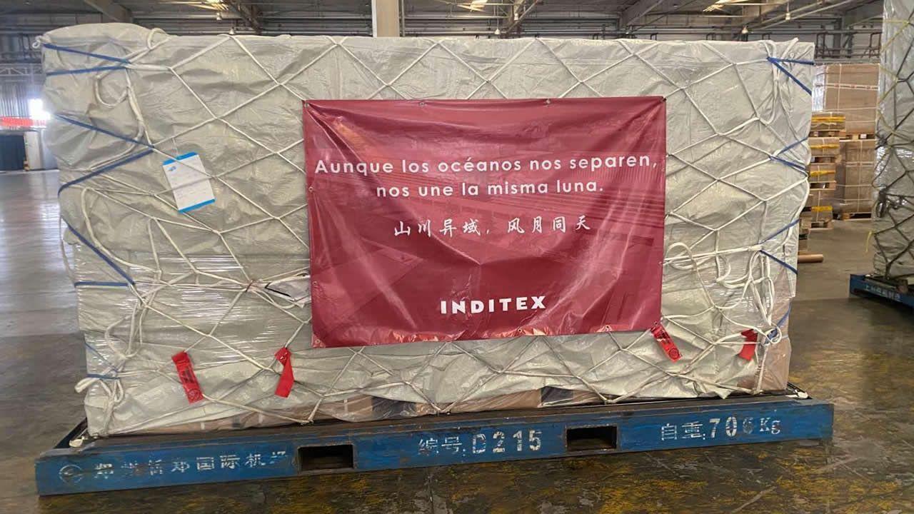 Más de un millón de mascarillas llegan a Zaragoza procedentes de China.AMANCIO ORTEGA