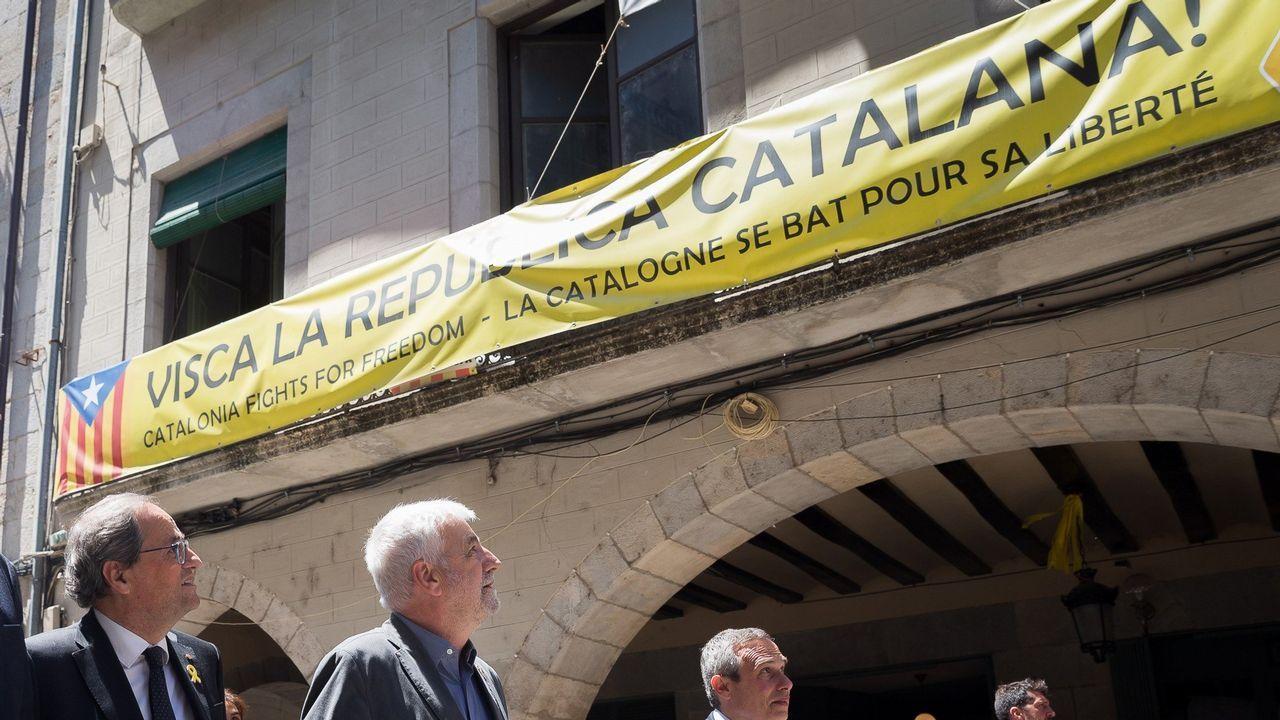 El presidente de la Generalitat, ayer en Gerona