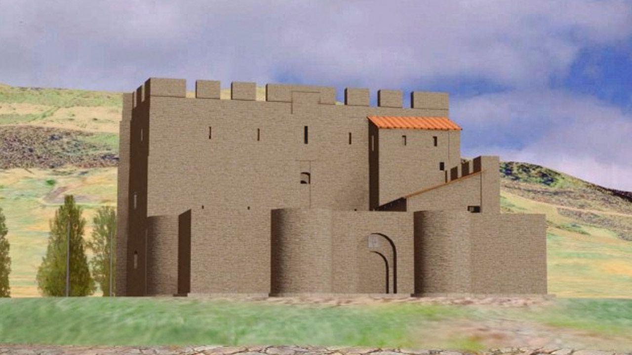 Recreación virtual del Castillo Fortaleza de Oviedo desde su entrada principal (falta la representación de las murallas), con su ronda almenada