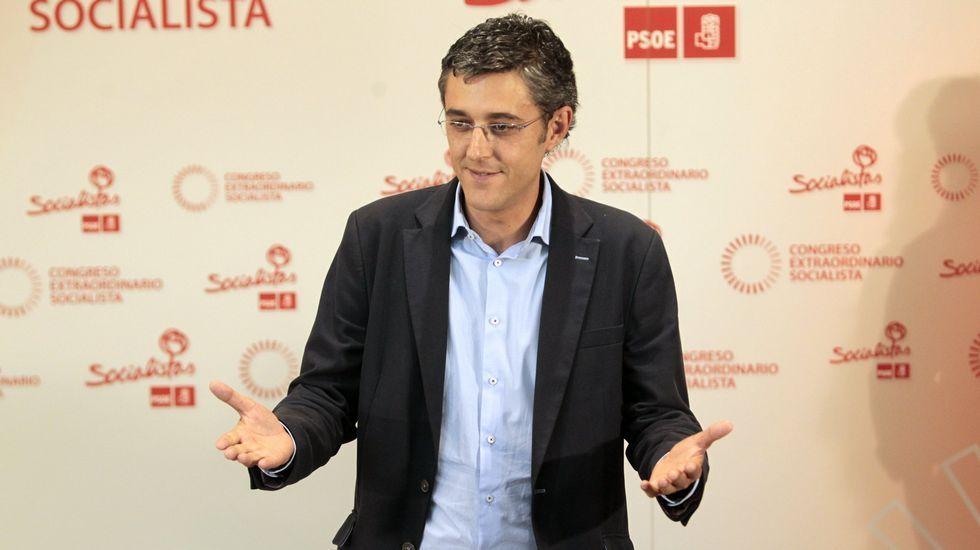 Susana Díaz pone fecha a su anuncio.Eduardo Madina y Javier Fernández, en un mitin en Asturias.