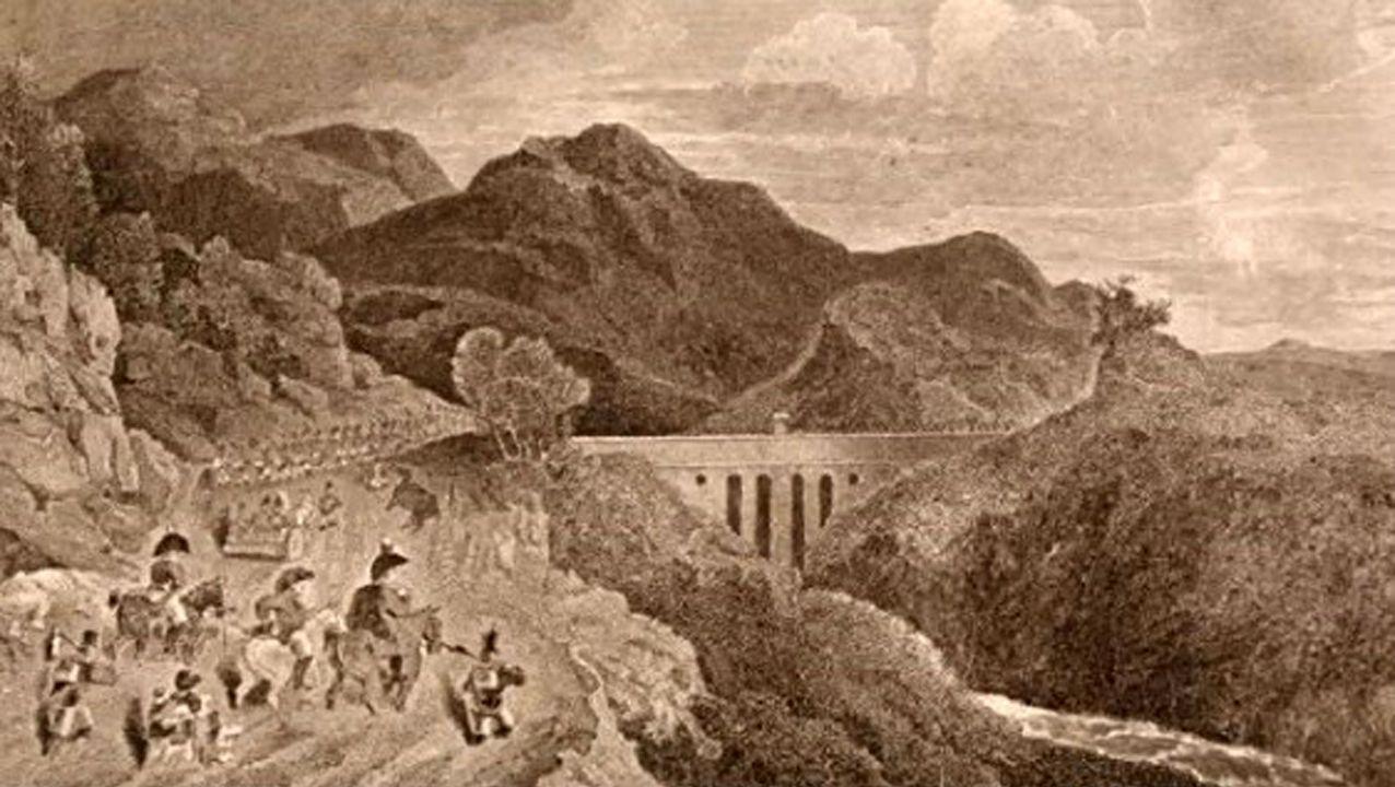 magen del libro de Adam Noe «Letter from Portugal and Spain», de 1809, donde llegan las tropas de John Moore para intentar evitar la voladura del puentes por parte de las tropas napoleónicas