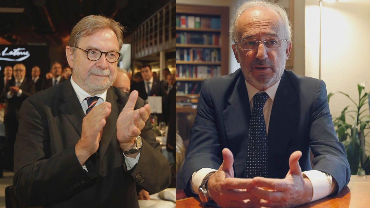 Juan Luis Cebrián (izq.), periodista y empresario; y Santiago Muñoz Machado, jurista y secretario desde el 2015, son los favoritos para dirigir la RAE