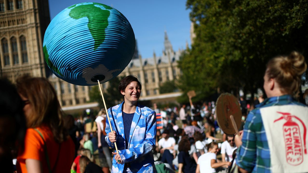 Manifestante en Londres