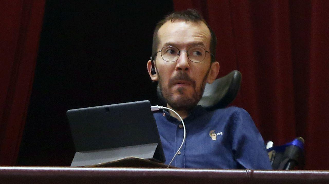 El secretario general de Podemos en Asturias, Daniel Ripa, durante su intervención en la tercera jornada del debate de orientación política general que se celebra en la Junta General del Principado.