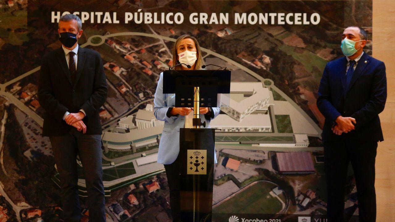 Los conselleiros Alfonso Rueda, Ethel Vázquez y Julio García Comesaña, este lunes, en Pontevedra