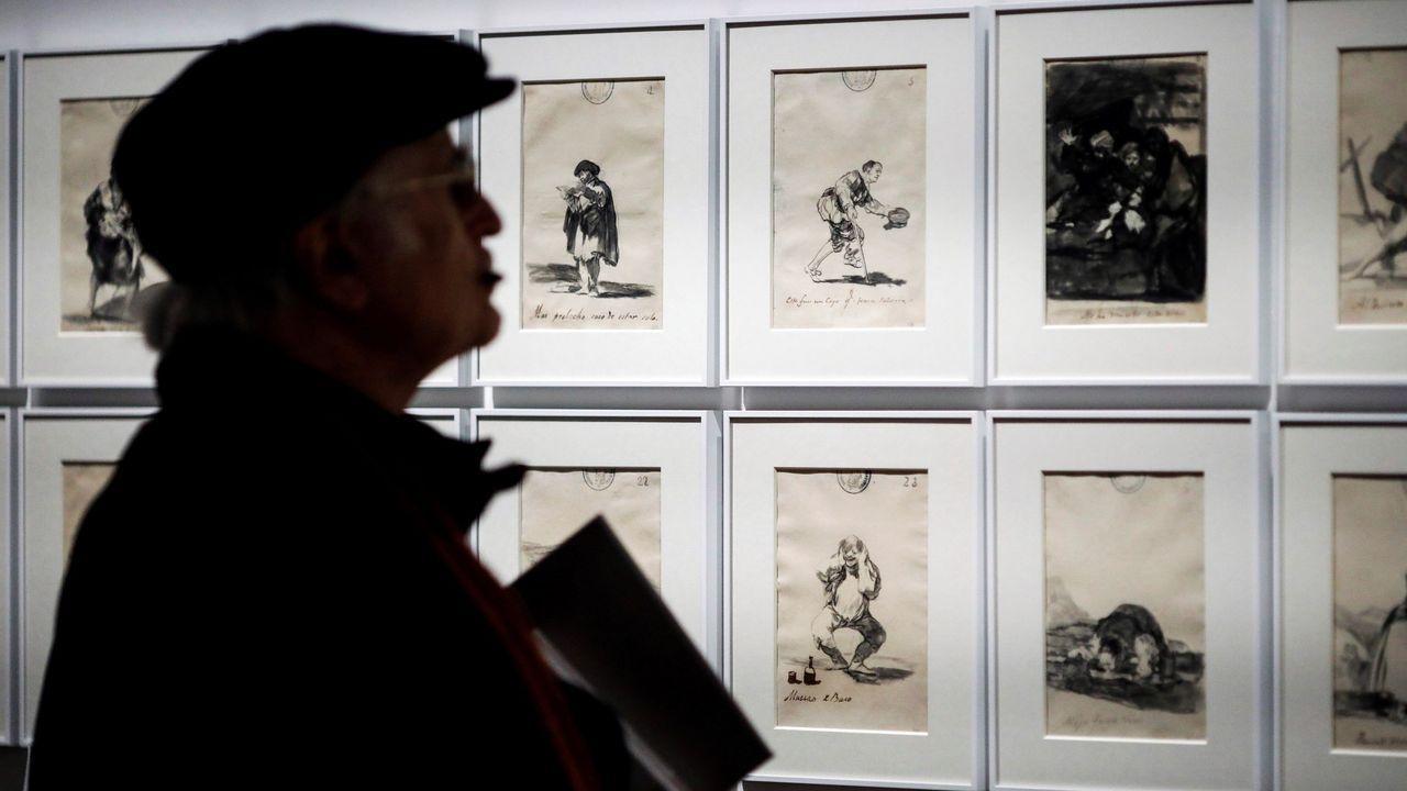 autobús, Asturias, alsa, pasajeros, Oviedo.Un visitante contempla las obras de Goya