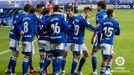 Los jugadores del Oviedo celebran el 1-0 al Logroñés